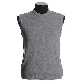 Crew-neck sleeveless cardigan, pale grey s1