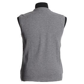 Crew-neck sleeveless cardigan, pale grey s2