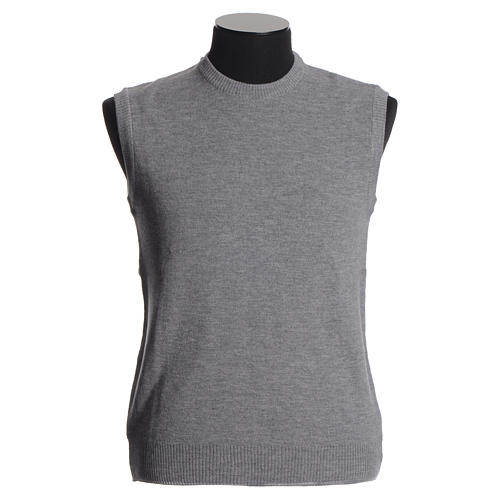 Crew-neck sleeveless cardigan, pale grey 1