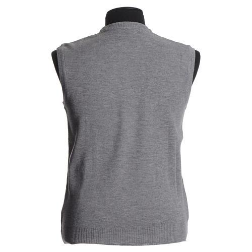 Crew-neck sleeveless cardigan, pale grey 2