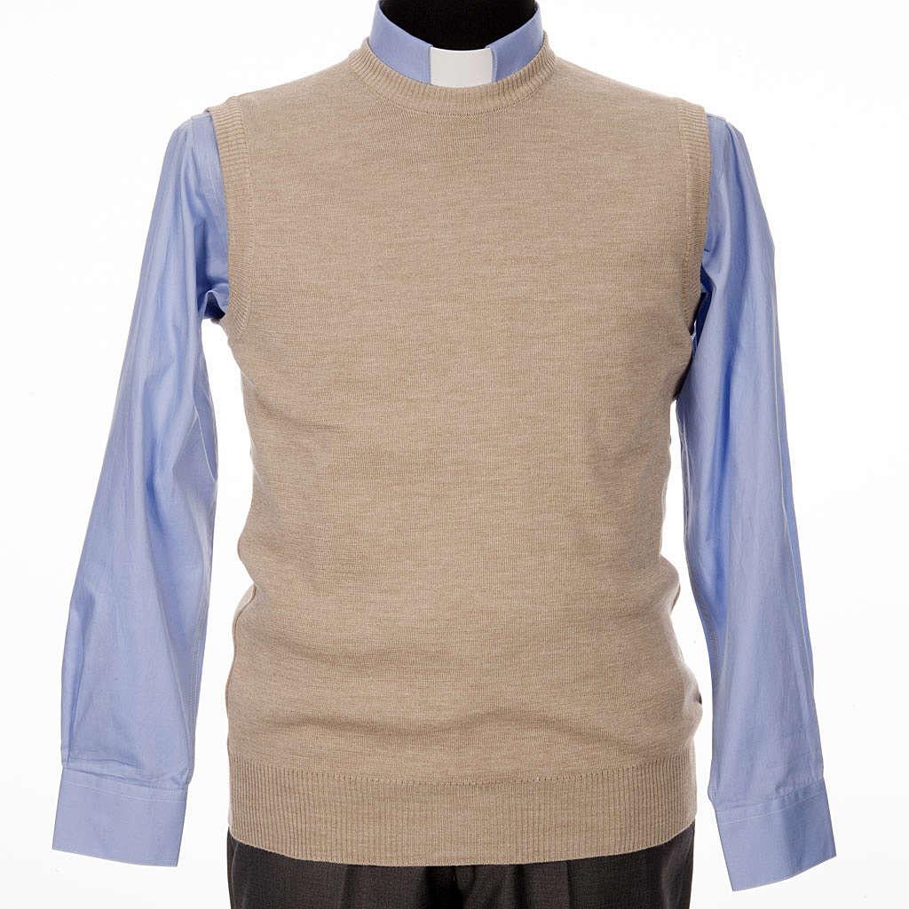 Crew-neck sleeveless cardigan, beige 4