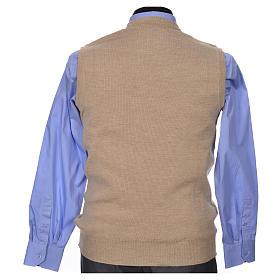 Crew-neck sleeveless cardigan, beige s6