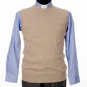 Crew-neck sleeveless cardigan, beige s1
