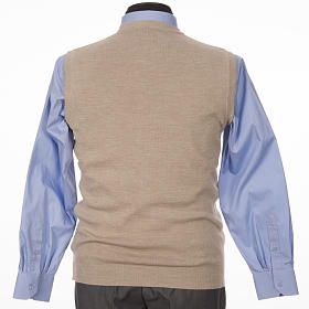 Crew-neck sleeveless cardigan, beige s2