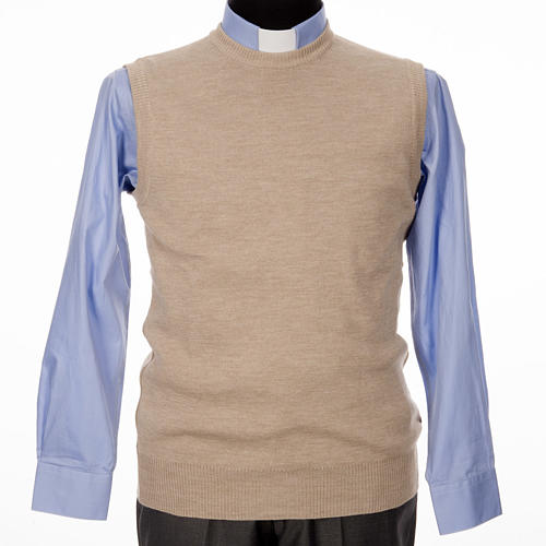 Crew-neck sleeveless cardigan, beige 1