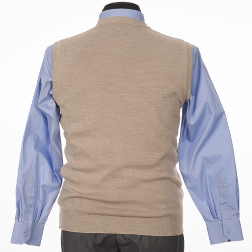 Crew-neck sleeveless cardigan, beige 2