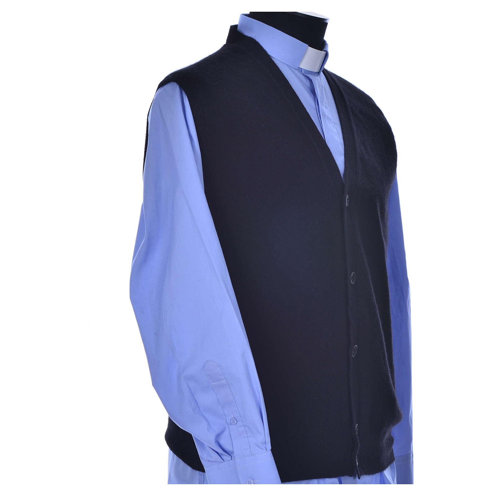 STOCK Sleeveless black cardigan, 100% cashmere wool 4