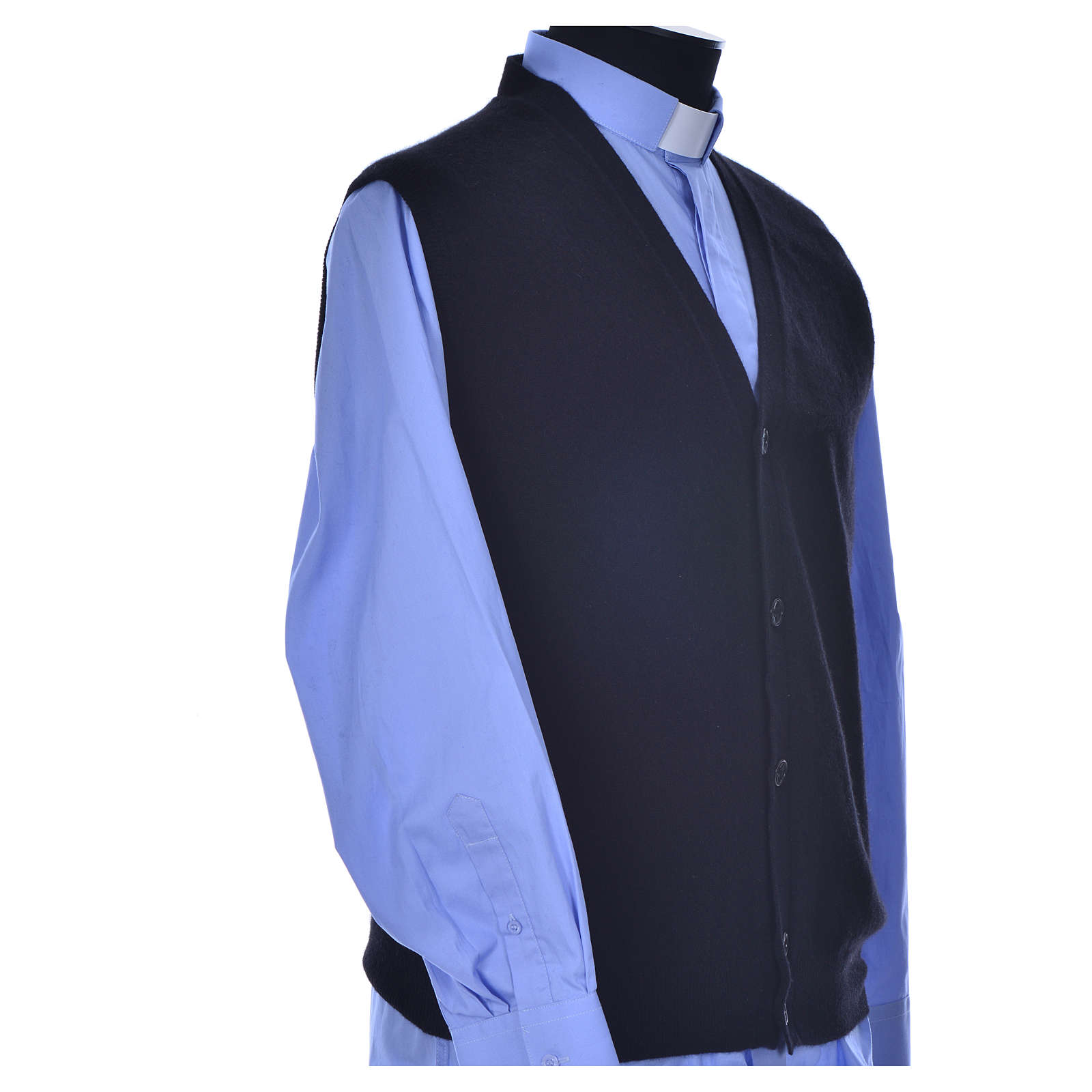 Sleeveless black cardigan, 100% cashmere wool 4