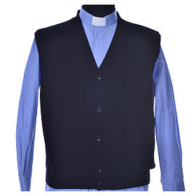 Sleeveless black cardigan, 100% cashmere wool s1