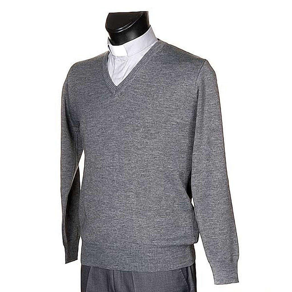 STOCK Jersey con cuello V gris claro 4