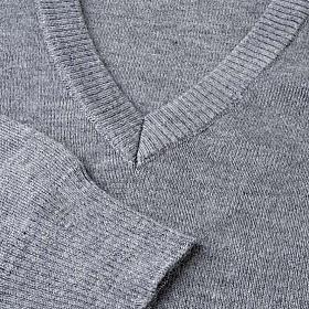 STOCK Pullover, ouverture en V,gris clair s3