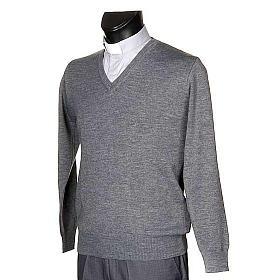 Pullover collo V grigio chiaro s2