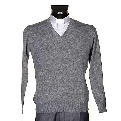 Pullover collo V grigio chiaro 1
