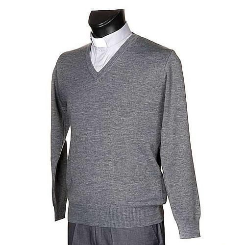 Pullover collo V grigio chiaro 2