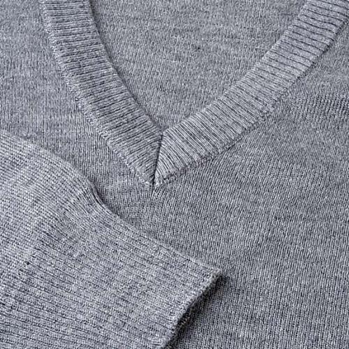 Pullover collo V grigio chiaro 3