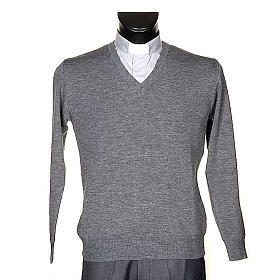 STOCK V-neck light grey pullover s1