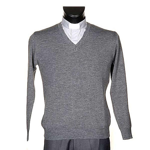 STOCK V-neck light grey pullover 1