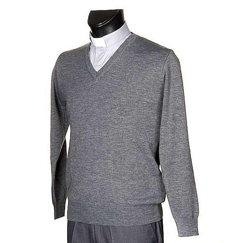 STOCK V-neck light grey pullover 2