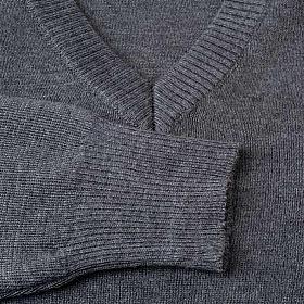 Pullover collo V grigio scuro s3