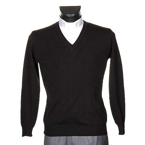 Pullover V-Kragen Schwarz 1
