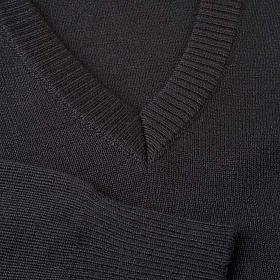 Jersey con cuello V negro s3