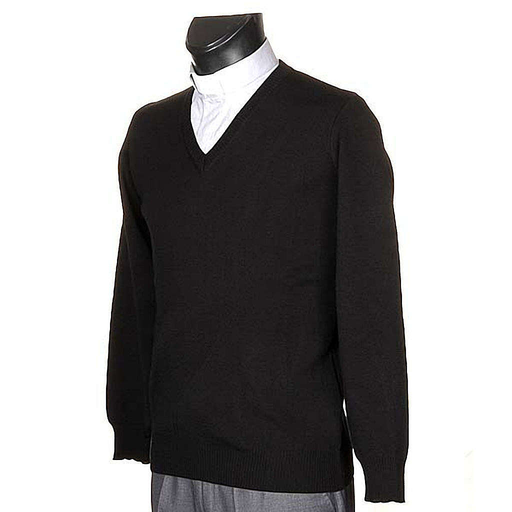 Pullover, ouverture en V,noir 4