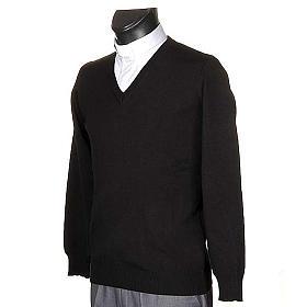 Pullover, ouverture en V,noir s2