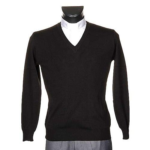 Pullover, ouverture en V,noir 1