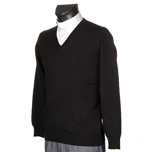 Pullover, ouverture en V,noir 2