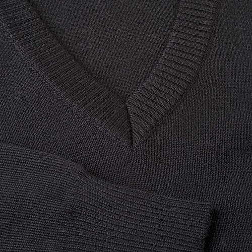 Pullover, ouverture en V,noir 3