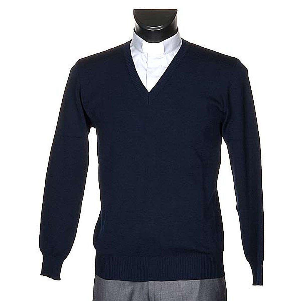 Pullover V-Kragen Blau 4