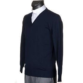 Pullover V-Kragen Blau s2