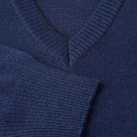 Pullover V-Kragen Blau s3
