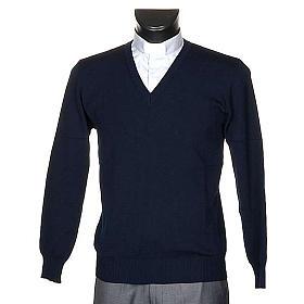 Pullover, ouverture en V, bleu s1