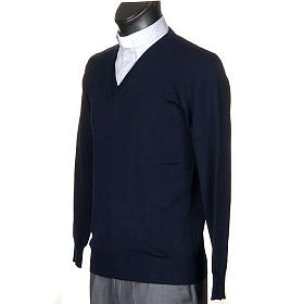 Pullover, ouverture en V, bleu s2