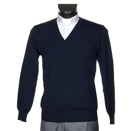 Pullover, ouverture en V, bleu 1