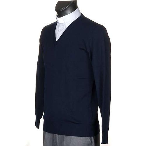 Pullover, ouverture en V, bleu 2