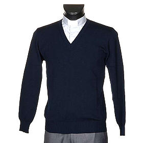 V-neck blue pullover s1
