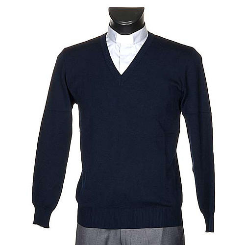 V-neck blue pullover 1