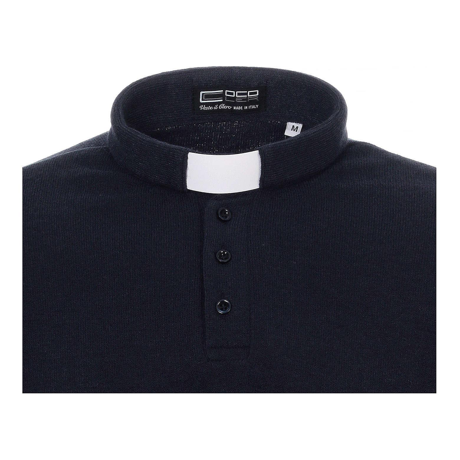 Polo clergy manches longues bleu tissu mixte laine 4