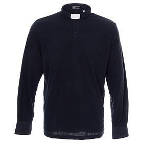 Polo clergy manches longues bleu tissu mixte laine s1