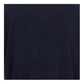 Polo clergy manches longues bleu tissu mixte laine s2