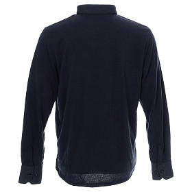 Polo clergy manches longues bleu tissu mixte laine s3
