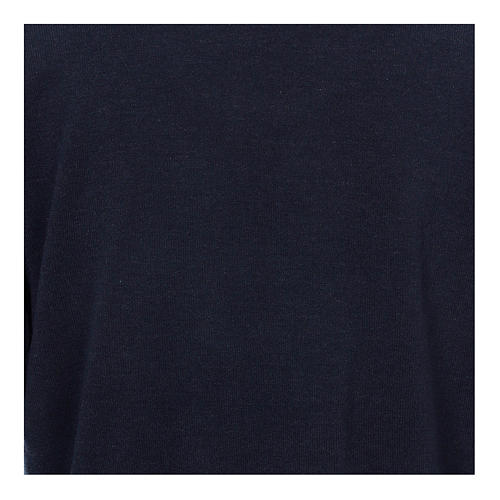 Polo clergy manches longues bleu tissu mixte laine 2