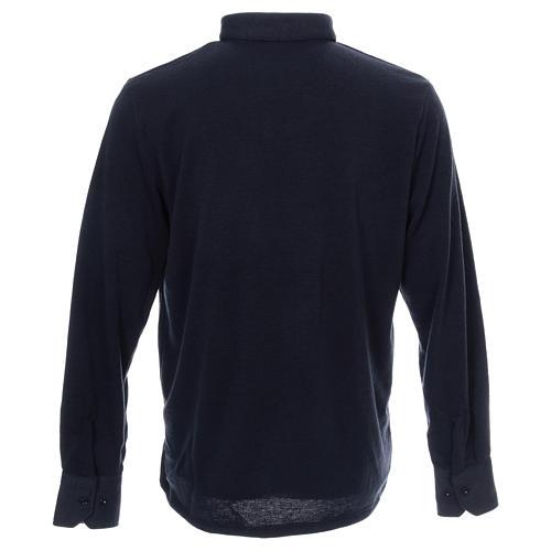Polo clergy manches longues bleu tissu mixte laine 3