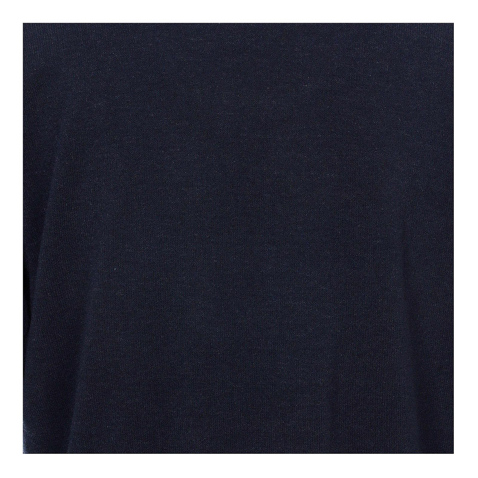 Maglione polo blu in Misto Lana 4
