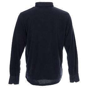 Maglione polo blu in Misto Lana s3