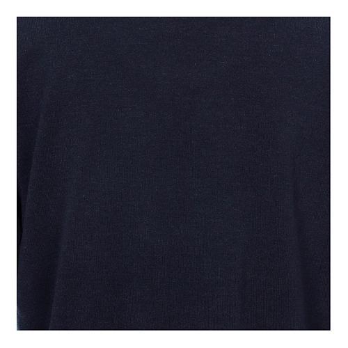 Maglione polo blu in Misto Lana 2