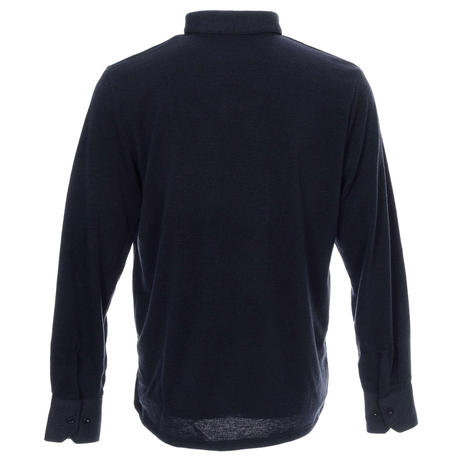 Sweter dla księdza polo granatowy z Mieszanej Wełny 4