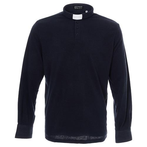 Sweter dla księdza polo granatowy z Mieszanej Wełny 1
